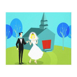 Retro bröllop kopplar ihop den sträckta canvastryck
