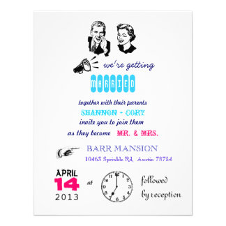 Retro bröllopinbjudan inbjudan