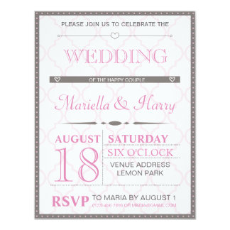 Retro bröllopinbjudan 10,8 x 14 cm inbjudningskort