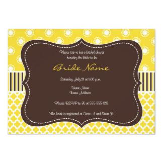Retro brunt- & gultinbjudningskort för möhippan 12,7 x 17,8 cm inbjudningskort