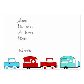 Retro campa röd vintage bilar för släpturkos set av breda visitkort
