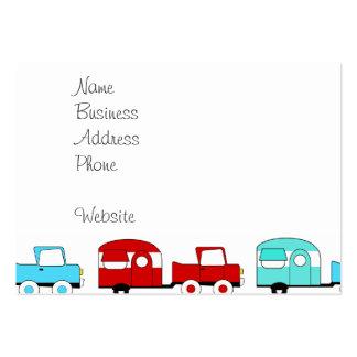 Retro campa röd vintage bilar för släpturkos visitkort