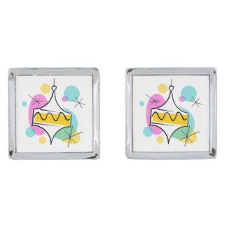 Retro cufflinks för trädBaublessingel kvadrerar Silverpläterade Manschetterknappar