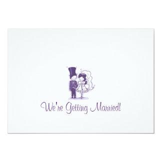 Retro Cursive bröllopinbjudningar 12,7 X 17,8 Cm Inbjudningskort