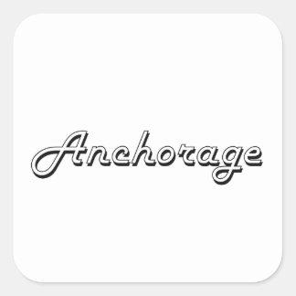 Retro design för ankringAlaska klassiker Fyrkantigt Klistermärke