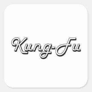 Retro design för kung fuklassiker fyrkantigt klistermärke