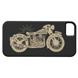 Retro direkt att rida vintagemotorcykeln med text iPhone 5 cases