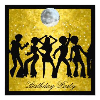 Retro disko70-talfödelsedagsfest fyrkantigt 13,3 cm inbjudningskort