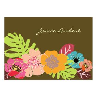 Retro djärva tropiska blommor, DIY-bakgrundsfärg! Set Av Breda Visitkort