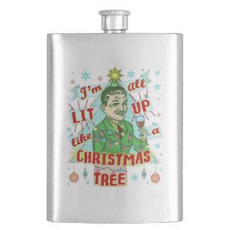 Retro dricka humorman för rolig jul som tändas upp fickplunta