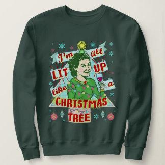 Retro dricka kvinna för rolig ful jultröja tröja