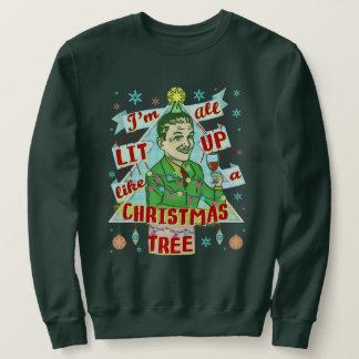 Retro dricka man för rolig ful jultröja lång ärmad tröja