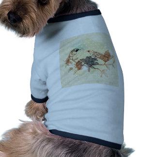 Retro fåglar t-shirt för hundar
