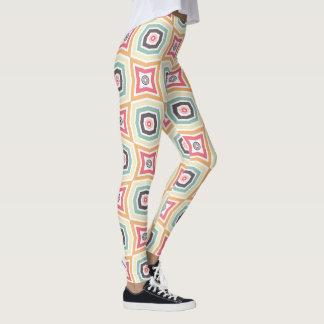 Retro färgrik mönsterdamasker leggings