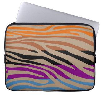 Retro färgrikt mönster för zebra tryck laptop fodral
