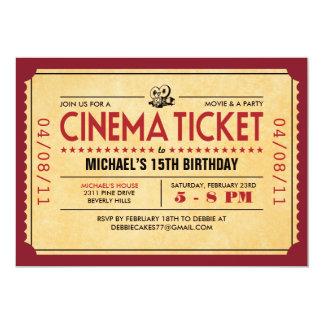 Retro filmbiljettinbjudningar 12,7 x 17,8 cm inbjudningskort