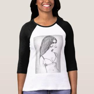 Retro flicka för 70-tal t shirt