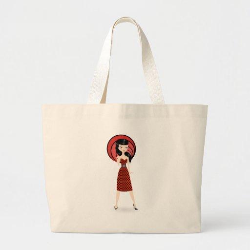Retro flicka tote bags
