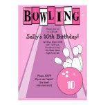 Retro flickaktigt rosa inbjudan för födelsedagbowl