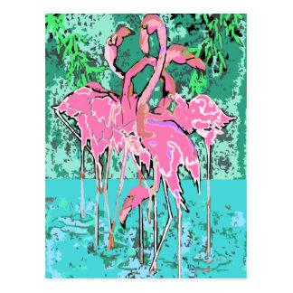 Retro flock av Flamingos för Flamingofågelvykort Vykort