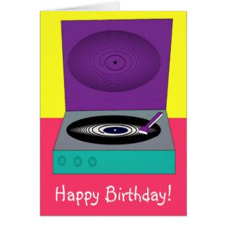 Retro födelsedagkortgrattis på födelsedagen med hälsningskort
