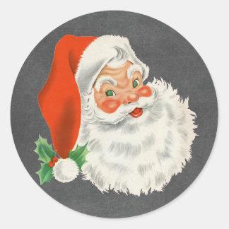Retro för svart tavlajul för jultomten runt klistermärke