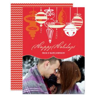 Retro foto för helgdag för julprydnadsparre 12,7 x 17,8 cm inbjudningskort