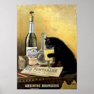 """Retro fransk affisch """"absintheborgare """","""