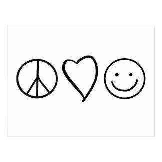 Retro fredkärlek och lycka vykort