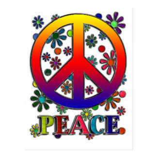 Retro fredstecken & blommor vykort
