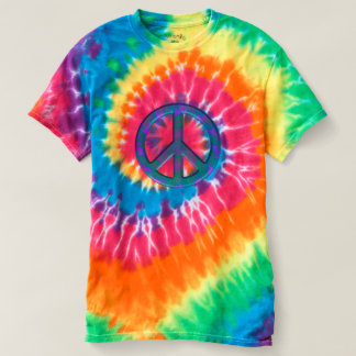Retro fredsteckenTie-Färg T-tröja Tee Shirts