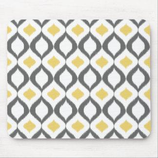 Retro geometriskt mönster för Ikat gultgrått Musmatta