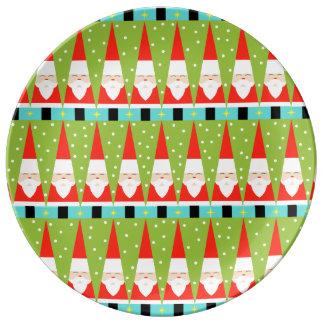 Retro geometriskt Santa porslin pläterar