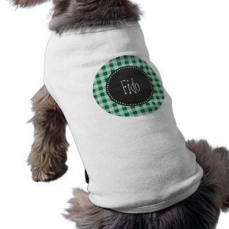 Retro Gingham för svart tavlaCadmiumgrönt; Rutigt Tröja För Hundar