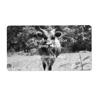 Retro grå färgtjurfoto fraktsedel