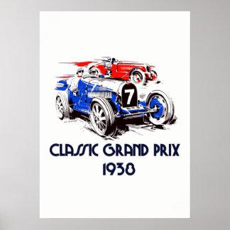 Retro grand prix 53 x 73 för stilklassikerbilar poster