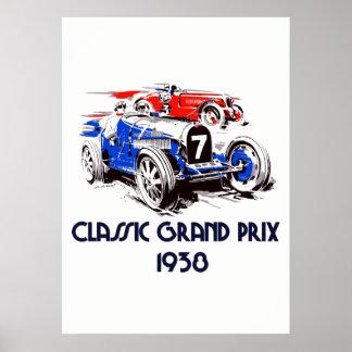 Retro grand prix för stilklassikerbilar 51 x71 poster