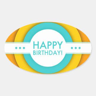 retro grattis på födelsedagen ovalt klistermärke