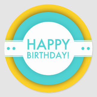 retro grattis på födelsedagen runt klistermärke