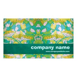 Retro grön blommigt set av standard visitkort