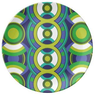 Retro grönt och blått cirklar porslinstallrik
