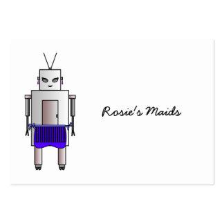 Retro gullig kvinnlig robot för vintage med set av breda visitkort
