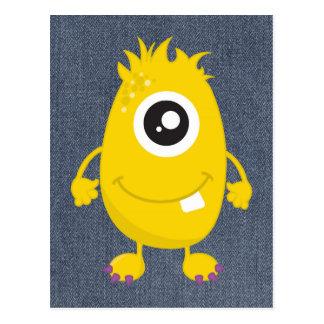 Retro gulligt gult monster vykort