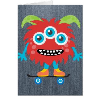 Retro gulligt monster OBS kort