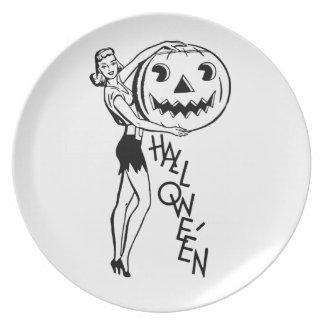 Retro Halloween utvikningsbild Tallrik