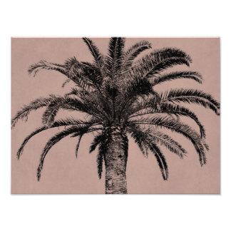 Retro hawaiansk palmträd - vintage gömma i handfla fotontryck