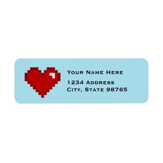 Retro hjärtaadressetiketter för Gamer 8Bit Returadress Etikett