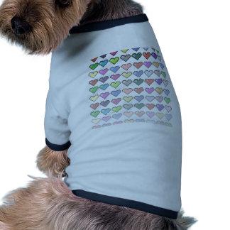 Retro hjärtor t-shirt för husdjur