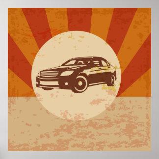 Retro illustration för bilvintage poster