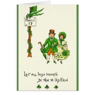 Retro irländska hjärtor är riktiga Sts Patrick Hälsningskort
